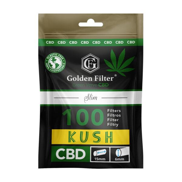 filtry do jointów GOLDEN FILTER GREEN VERVE CBD KUSH 100 Slim